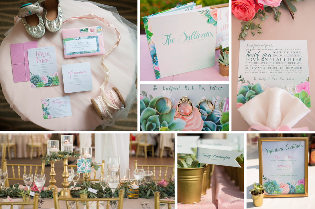 The Succulent Sullivans Wedding Invitation Suite, Menus, Escort Cards, Signage, Guest Book by EAlexDesigns