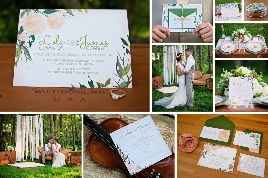 Blissfully Bohemian Wedding Invitation Suite by EAlexDesigns
