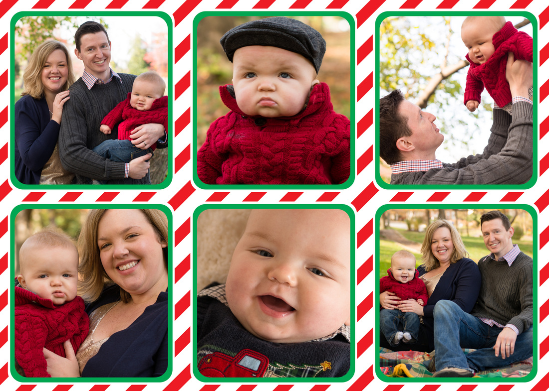 Candy Striped Banner Holiday Photo Card by EAlexDesigns
