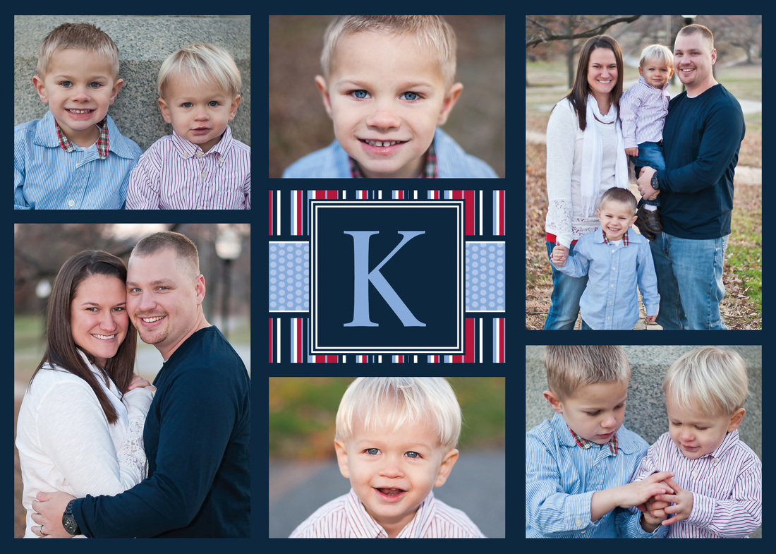 Initial Cap Striped Holiday Photo Card by EAlexDesigns
