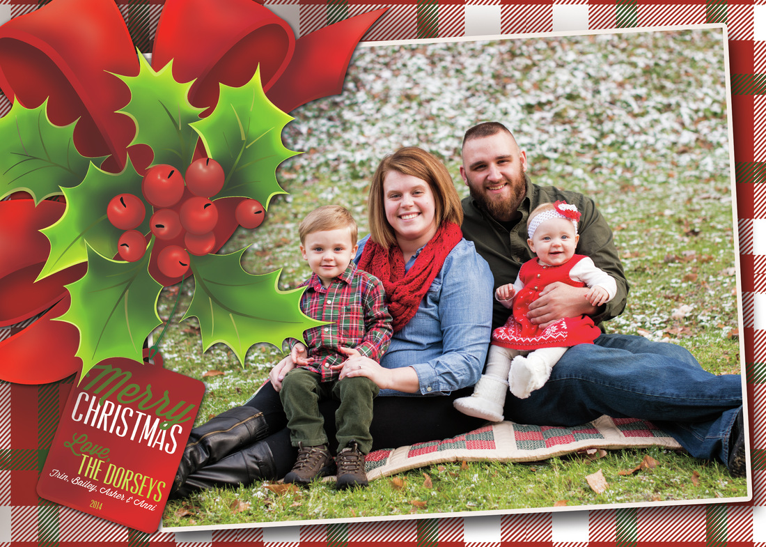 Holly & Tag Holiday Photo Card, Option 2, Plaid