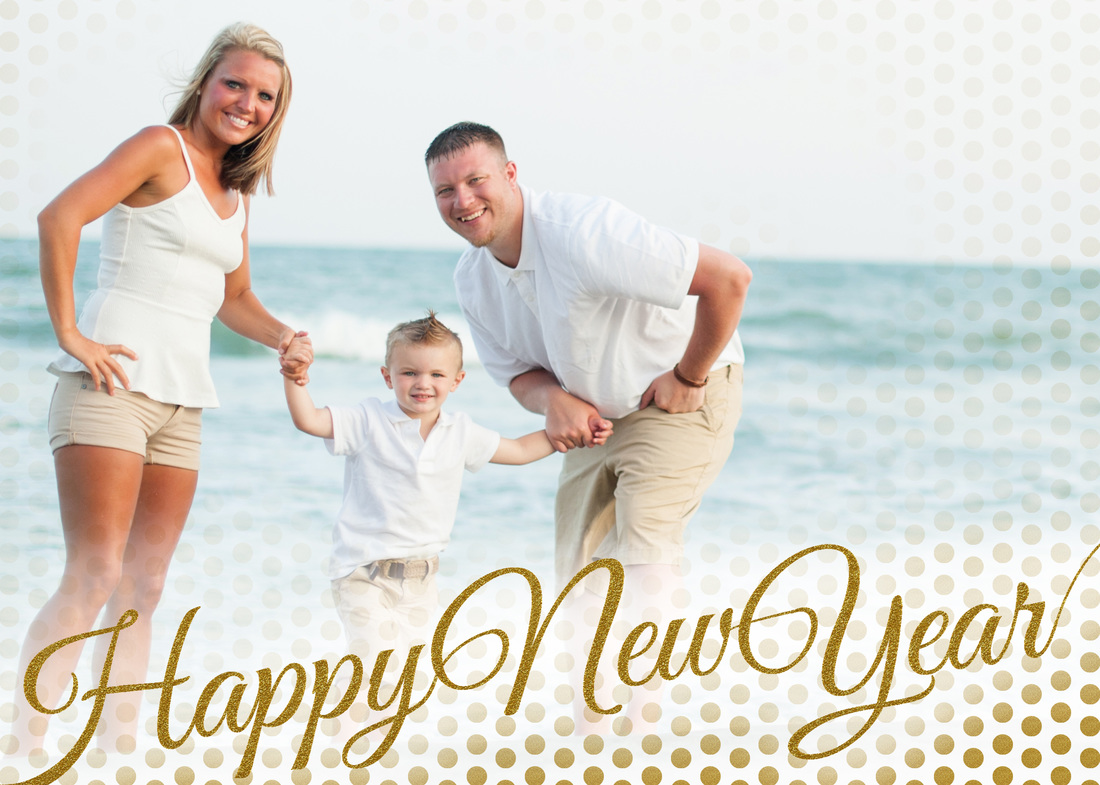Happy New Year Golden Glitter Holiday Photo Card by EAlexDesigns