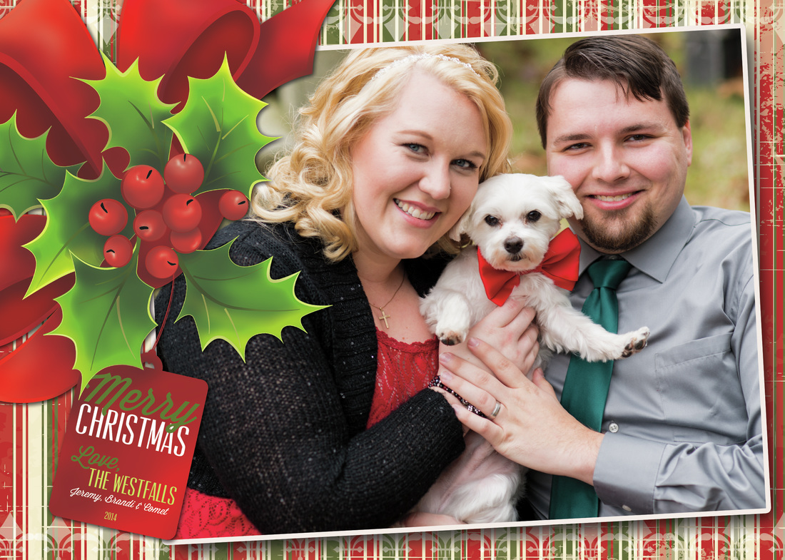 Holly & Tag Holiday Photo Card, Option 1, Vintage Stripes by EAlexDesigns